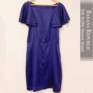Banana Republic Silk Flutter Sleeve Dress Size 6